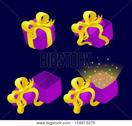 Set of cartoon gift boxes with bows and ribbons, vector illustration.Isolated on a dark background.Game icon.Design for app user interface and score display.Ranking games elements.Animation