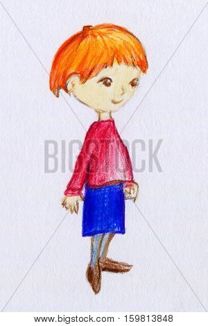 Hand painted cute little girl with ginger hair on paper texture. Pencil drawing