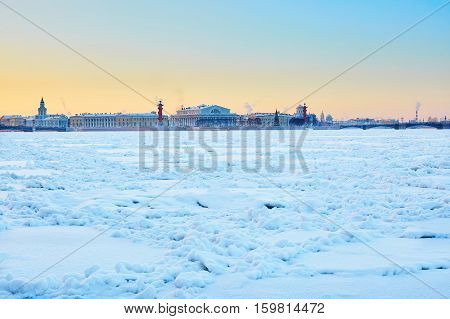Rostral Columns And Spit Of Vasilyevsky Island In St. Petersburg