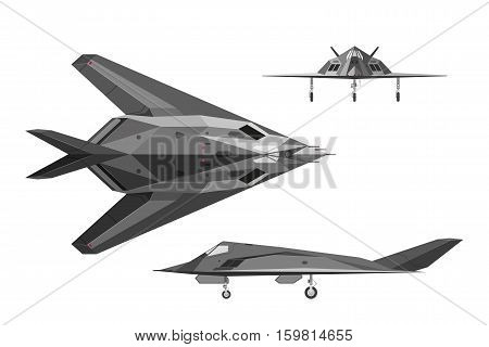 Military stealth aircraft F-117. War plane in three views: side top front. Jet airplane on white background. Vector illustration