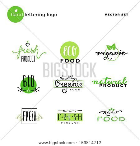 Hand lettering vector logo of vegetarian ecology fresh food. Hand drawn typeface. Eco bio raw food. Vintage hand lettering emblems