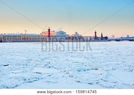 Rostral Columns And Spit Of Vasilyevsky Island