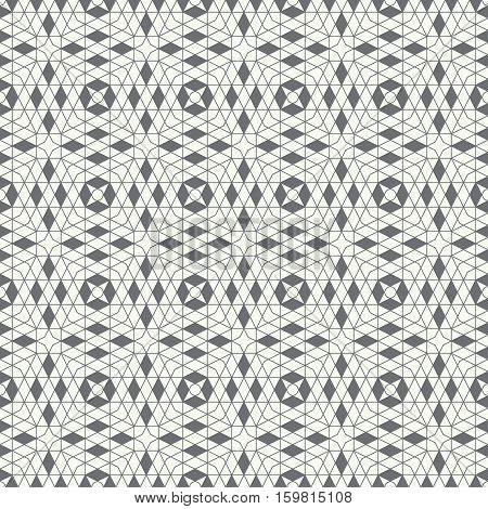 Seamless pattern. Stylish geometric texture. Modern linear ornament. Regularly repeating thin broken line grids with triangles polygons hexagons rhombuses difficult polygonal outline shapes