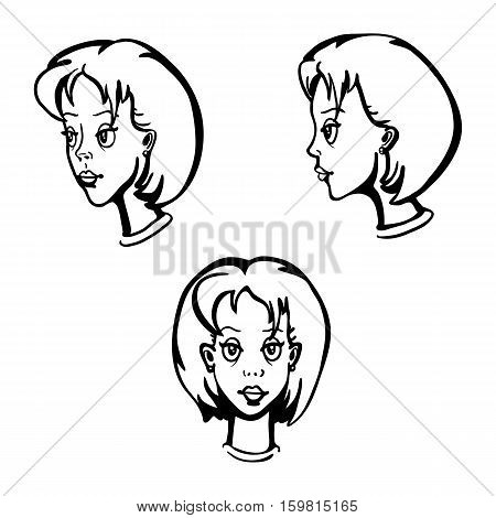 Vector Set Of Female Character Faces