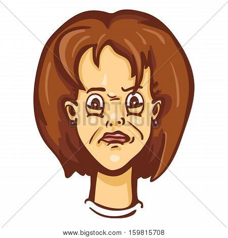 Vector Cartoon Female Character Emotion. Confused Woman