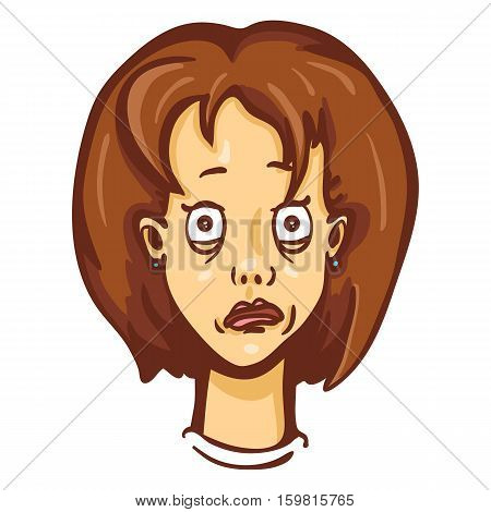 Vector Cartoon Female Character Emotion. Freaked Out Woman