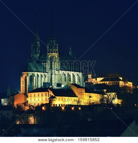 Night Photography. Petrov - St. Peters and Paul church in Brno city.Urban old architecture. Central Europe Czech Republic.