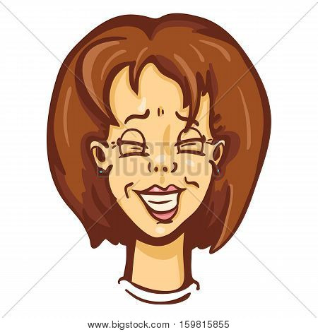 Vector Cartoon Female Character Emotion. Laughing Woman
