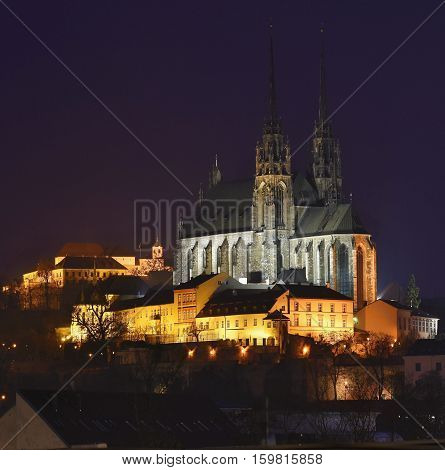 Night Photography. Petrov - St. Peters And Paul Church In Brno City.urban Old Architecture. Central