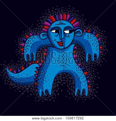 Vector Cute Halloween Character Ogre, Fictitious Creature. Cool Illustration Of Funny Blue Monster.