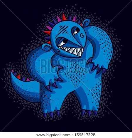 Comic Character, Vector Blue Funny Alien Monster. Emotional Expression Idea Graphic Symbol, Design E