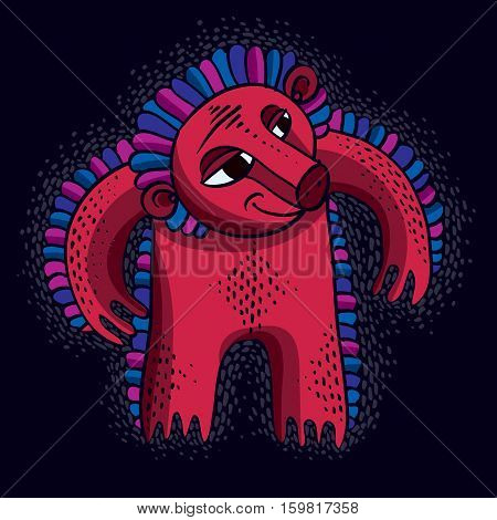 Vector Cool Cartoon Angry Monster, Simple Red Weird Creature With Snoot. Clipart Mythic Character Fo