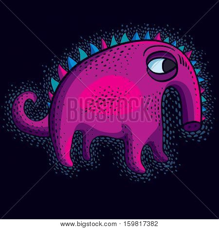 Comic Purple Character, Vector Funny Alien Monster. Emotional Expression Idea Graphic Symbol, Design