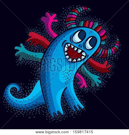 Character Monster Vector Flat Illustration, Cute Blue Smiling Mutant. Drawing Of Weird Beast, Emotio
