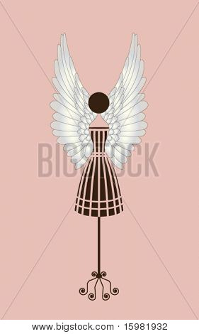 Fashion couture bodyform #3with wings and label for your input