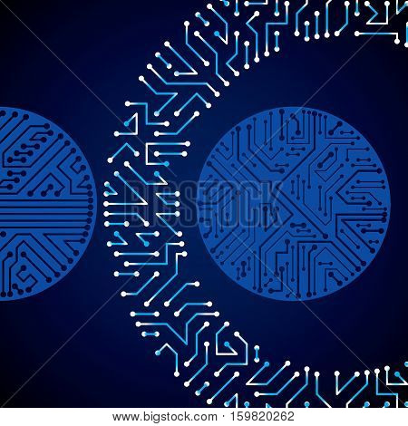 Vector electronic pattern with microchip scheme luminescent circuit board high tech futuristic background. Digital connections flash effect.