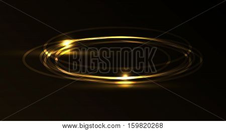 Vector gold plasma laser galaxy. Isolation over dark and black background