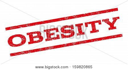 Obesity watermark stamp. Text tag between parallel lines with grunge design style. Rubber seal stamp with unclean texture. Vector red color ink imprint on a white background.