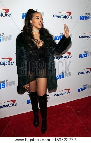 LOS ANGELES - DEC 2:  Tinashe at the 102.7KIIS FM's Jingle Ball 2016 at Staples Center on December 2, 2016 in Los Angeles, CA