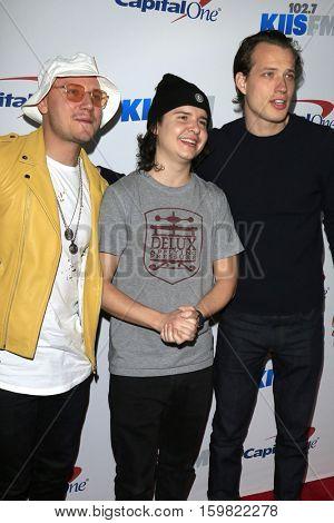 LOS ANGELES - DEC 2:  Mark Falgren, Lukas Graham Forchhammer, Magnus Larsson at the 102.7KIIS FM's Jingle Ball 2016 at Staples Center on December 2, 2016 in Los Angeles, CA