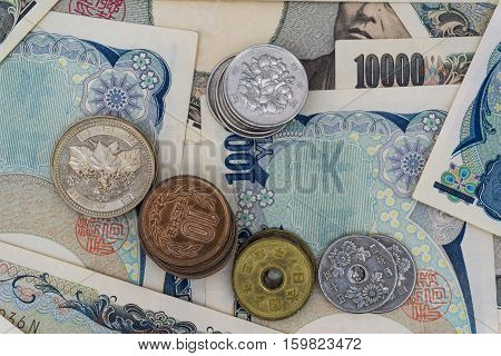 Japan 1000 5000 10000 Bank Note And Coin