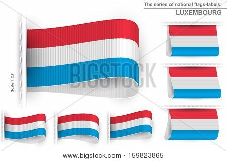 National state flag of Luxembourg; Sewn clothing label tag; Vector icon set Grand Duchy of Luxembourg flags Eps10