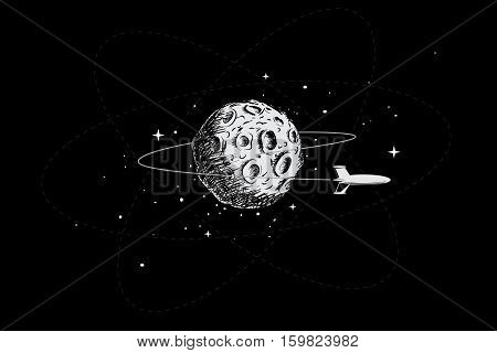 spacecraft orbiting the moon.Hand drawn style.Vector illustration