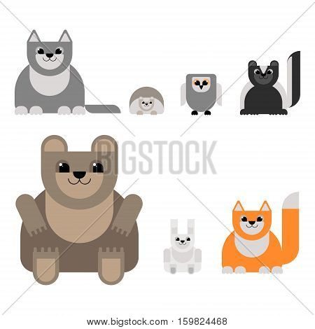 Animals of the forest in the style of the material design. Bear wolf fox hare hedgehog owl skunk. Vector