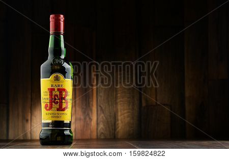 POZNAN POLAND - NOV 22 2016: J&B Rare blended Scotch whisky is a product of Justerini & Brooks Ltd. fine wine and spirits merchant who have been supplying to every British monarch since 1761