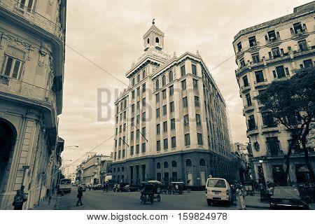 Havana Cuba - 2012 November 29 : The art deco Bacardi building in the Avenida de Bélgica in the center of La Havana Cuba