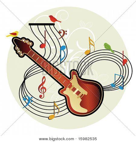 guitar musical notes birds foliage