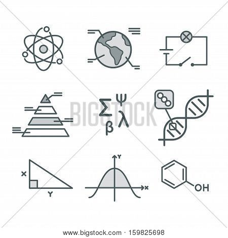 Science symbols set. Mathematical functions chemistry and biology geography and physics. Abstract science vector infographic elements.