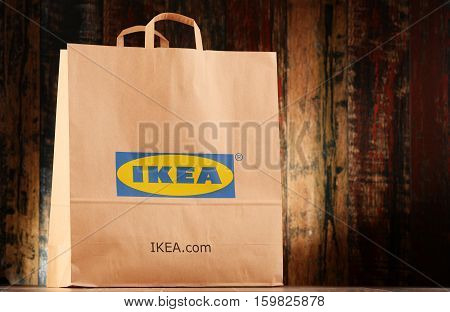 POZNAN POLAND - NOV 25 2016: Founded in Sweden in 1943 IKEA is world's largest furniture retailer operates 384 stores in 48 countries it is selling about 12000 products
