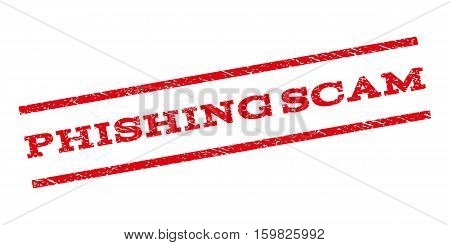 Phishing Scam watermark stamp. Text tag between parallel lines with grunge design style. Rubber seal stamp with scratched texture. Vector red color ink imprint on a white background.
