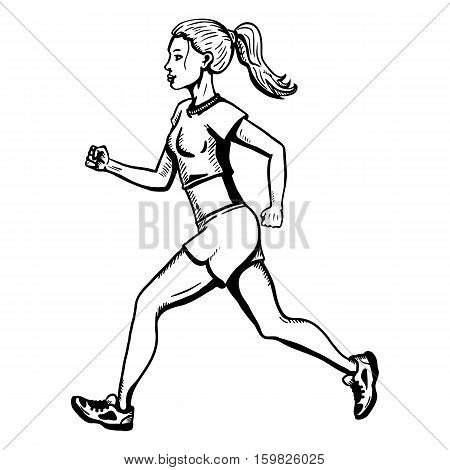Vector Female Character. Jogging Young Woman.