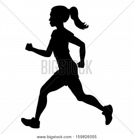 Vector Silhouette Of Running Young Woman