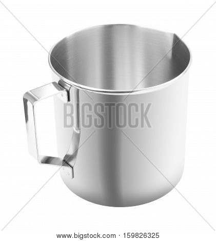 Upper handle open stainless gutter cup on white background.