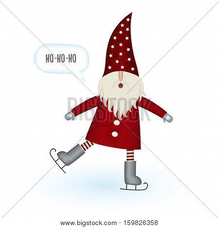 Nisse Santa Claus scandinavian folk style, nordic Christmas motive in red coat, athlete on skates isolated on white background, vector illustration