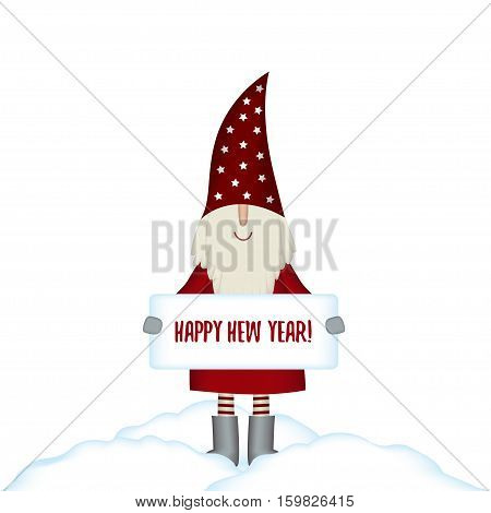 Nisse Santa Claus scandinavian folk style, nordic Christmas motive in red coat with with banner isolated on white background, vector illustration
