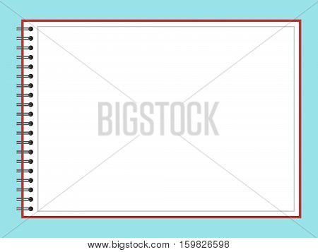 Blank open album for drawing on blue background. Planning school education and business concept. Flat design. Vector illustration. EPS 8 no transparency