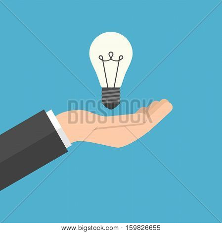 Lightbulb in hand businessman isolated on blue background. Inspiration discovery care idea and insight concept. Flat design. Vector illustration. EPS 8 no transparency