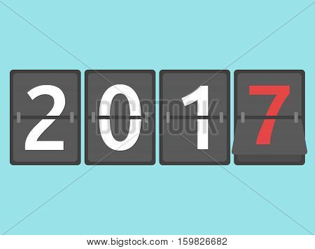 Happy New Year 2017 mechanical scoreboard congratulation flip symbol on blue background. New year happy and christmas concept. Flat design. Vector illustration. EPS 8 no transparency