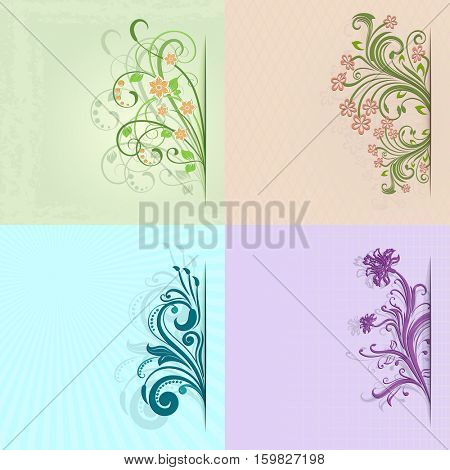 4 flower vintage color cards with copy space.