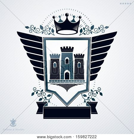 Heraldic emblem isolated vector illustration created with medieval stronghold and royal crown