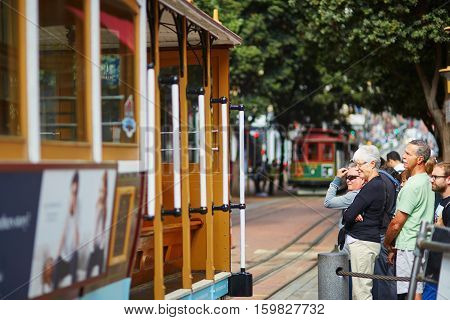 San Francisco - October 17: Passangers Waiting For A Famous Cable Car October 17, 2015 In San Franci