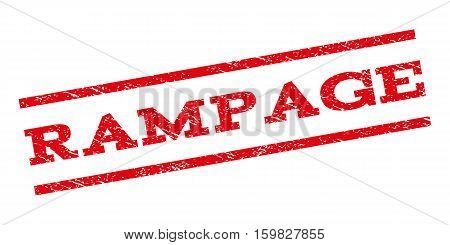Rampage watermark stamp. Text caption between parallel lines with grunge design style. Rubber seal stamp with scratched texture. Vector red color ink imprint on a white background.