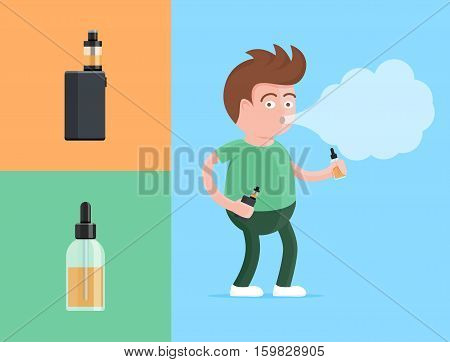 Happy young vaper man holding electronic cigarette and vaping e-liquid fluid in his hands and exhaling cloud of vapor or smoke. E-cigarette electronic personal vaporizer box mod vector illustration