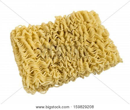 Instant noodles close up isolated on white background. Oriental unhealthy tasty fastfood.