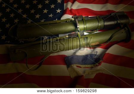 USA and Ukraine Flag with Soviet rocket-propelled grenade launcher