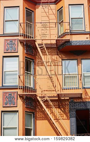 Fire Escape On A Building In San Francisco